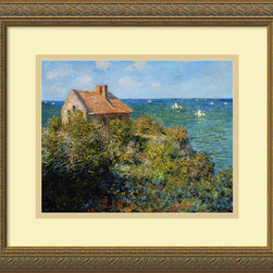 "Amanti Art - ""Fisherman's Cottage on the Cliffs at Varengeville, 1882"" Framed Print - A bright day on the water takes on a whole new dimension when captured by Claude Monet. Hang this masterpiece in your home and enjoy the jewel tones, which are set off by a hand-selected frame."