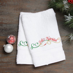 None - Embroidered Feliz Navidad Holiday Turkish Cotton Hand Towels (Set of 2) - Authentic plush hotel and spa hand towels are made from high end Turkish cotton and embroidered with a Feliz Navidad design. These Turkish cotton hand towels are made for luxury hotels and spas and become softer and more absorbent with every wash.