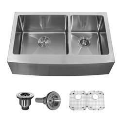 Kraus 33 inch Farmhouse 70/30 Double Bowl 16 gauge Stainless Steel Kitchen Sink - Add an elegant touch to your kitchen with a unique and versatile farmhouse apron sink from Kraus