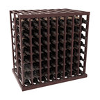 Double Deep Tasting Table Wine Rack Kit in Redwood with Walnut Stain + Satin Fin - The quintessential wine cellar island; this wooden wine rack is a perfect way to create discrete wine storage in open floor space. With an emphasis on customization, install LEDs or add a culinary grade Butcher's Block top to create intimate wine tasting settings. We build this rack to our industry leading standards and your satisfaction is guaranteed.