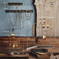 Brass Rod Jewelry Ladders - Artful jewelry displays are effortless with our unique collection of industrial chic stands and wall mount displays. Polished brass rods in interesting configurations are mounted to solid precision milled steel bases on our Double T and Double Bar stands.  Wall mount display pieces are highly functional with either a bar or seven peg hooks; both come with brass mounting screws.