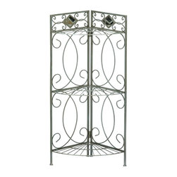 Holly & Martin - Isabella Corner Rack - Decorative diamond shaped mirror accents. Utilizes wasted corner space. Three spacious shelves. Pewter gun metal finish. Assembly required. 18.75 in. W x 12.75 in. D x 36.75 in. H (11 lbs.). Assembly instructionsDetailed scroll insets give life to this transitional corner shelf. Making use of wasted floor space will bring plenty of organization to your bathroom. The three shelves are perfect for toiletries, towels and other decorative items. The frame is constructed of a square tube steel for durability and powder coated in a pewter / gun metal finish that works well with all color schemes. Providing the final accent are two lovely diamond shaped mirrors above the shelves that add sparkle and glimmer to your bathroom.