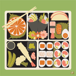 "Emma at Home - Bento Print, Grass, 11"" x 14'' - Is this print making you hungry? It's a charming reproduction of original art and would look great in a simple frame. It brings a plate full of personality to a kitchen."