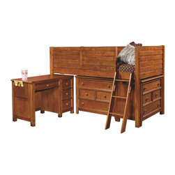 Lea Industries - Lea Willow Run Twin Low Loft Bed in Rich Toffee Brown Finish - You can provide your childs bedroom with a lot of open space by adding this low loft bed to the decor. The piece carries a rich toffee brown finish and features a side railing to prevent falling that incorporates gently horizontal slat panel look into the design. In addition, the ladder creates easy access up and down the bed. Plus, two four drawer dresser and a pull-out work desk are incorporated into the base design of the lofted bed. This bed gives you all the storage and work space your child needs in such a limited amount of space! The dresser storage space is great for keeping shirts, blankets, toys, books and games. The desk features 4 drawers and a book rack on the side for additional materials. Functional and fashionable, this junior loft bed is sure to please.