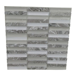 GL Stone Ltd - Random Strip Marble and Glass Mosaic Tiles, Grey, 1 Carton ( 11 Sheets / 11 Sq F - Random Grey Strip Marble and Glossy Glass Mosaic Tile is a great way to enhance your decor with a traditional aesthetic touch. This Mosaic Tile is constructed from durable, impervious Marble & Glass material, comes in a glossy and forest finish glass and is suitable for installation on walls in commercial and residential spaces such as bathrooms ,floor tile, and kitchen backsplash.