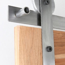 """Rustica Hardware - Ultramodern Barn Door Hardware - This standard Ultra Modern Barn Door Hardware is one of our best selling flat track hardware systems. Picture shown is our 3″ """"Ultra"""" Aluminum Wheel with a clear coat acrylic."""