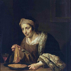 "Jan Van Bijlert A Woman Holding Pancakes - 16"" x 20"" Premium Archival Print - 16"" x 20"" Jan Van Bijlert A Woman Holding Pancakes premium archival print reproduced to meet museum quality standards. Our museum quality archival prints are produced using high-precision print technology for a more accurate reproduction printed on high quality, heavyweight matte presentation paper with fade-resistant, archival inks. Our progressive business model allows us to offer works of art to you at the best wholesale pricing, significantly less than art gallery prices, affordable to all. This line of artwork is produced with extra white border space (if you choose to have it framed, for your framer to work with to frame properly or utilize a larger mat and/or frame).  We present a comprehensive collection of exceptional art reproductions byJan Van Bijlert."