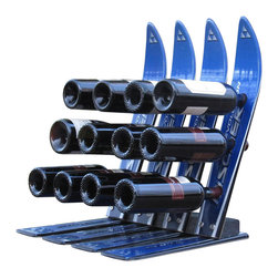 SkiChair - 12-Bottle Snow Ski Wine Rack - Made from re-cycled snow ski. 20 in. L x 20 in. W x 20 in. HThis unique wine rack holds 12 bottles of wine and is made from 2 matching pair of recycled snow skis slightly weathered from use.. The Cedar logs go through a checking process, which will make the logs appearas if there are cracks within. This, however does not compromise the stabilityof the product in any way. Guaranteed with a 5-year warranty.