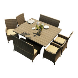 Forever Patio - Hampton 7 Piece Modern Wicker Dining Set, Heather Wicker and Wheat Cushions - The Forever Patio Hampton 7 Piece Patio Wicker Square Dining Set with Gold Sunbrella cushions (SKU FP-HAM-7SQDN-HT-WM) is perfect for taking in fresh air while enjoying a meal with friends. The set seats 8 adults comfortably, and includes 4 dining chairs, 2 dining benches and a dining table with a glass top. This set features Heather resin wicker, which is made from High-Density Polyethylene (HDPE) for outdoor use. Each strand of this outdoor wicker is infused with its natural color and UV-inhibitors that prevent cracking, chipping and fading ordinarily caused by sunlight, surpassing the quality of natural rattan. This dining patio set is supported by thick-gauged, powder-coated aluminum frames that make it extremely durable. Also included are fade- and mildew-resistant Sunbrella cushions. The elegance of this wicker outdoor dining set combined with its high quality materials will make your outdoor area a hub for unwinding while dining.