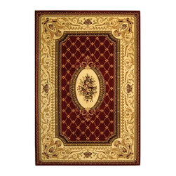 Safavieh - Traditional Power Loome Rug in Red and Ivory (5 ft. 3 in. x 3 ft. 3 in) - Size: 5 ft. 3 in. x 3 ft. 3 in. Machine made weave. Synthetic fiber. Made from polypropylene. Pile height: 0. 25 in. Safavieh's Lyndhurst collection offers the beauty and painstaking detail of traditional Persian and European styles. With a symphony of florals, vines and latticework detailing, this beautiful rugs brings warmth to life. Care Instructions: Vacuum regularly. Brushless attachment is recommended. Avoid direct and continuous exposure to sunlight. Do not pull loose ends; clip them with scissors to remove. Remove spills immediately; blot with clean cloth by pressing firmly around the spill to absorb as much as possible. For hard-to-remove stains professional rug cleaning is recommended.