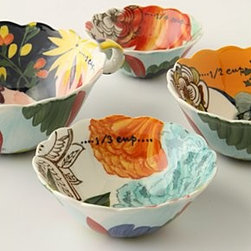 Anthropologie - Painted Amaryllis Measuring Cups - StonewareDishwasher and microwave safeImported