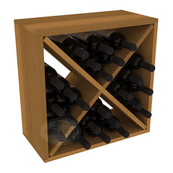 """Wine Racks America - 24 Bottle Wine Storage Cube in Premium Redwood, Oak Stain - A wine rack focused on flexibility; buy 1 or buy 100. Perfect for stacking, filling small spaces, and converting that """"underneath"""" space into wine storage. Mix and match finishes to illustrate your true wine-lover's spirit or contrast colors for a modern wine rack twist."""