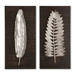 Uttermost - Uttermost Undefined Decorative Wall Art in Unknown - Shown in picture: These decorative wall plaques feature brushed aluminum leaves with wood backing that is finished in a distressed - dark ebony stain.  MATERIAL: MDF/ALUMINUM