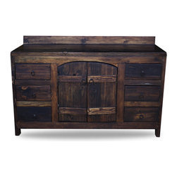 Old World Vanity from Reclaimed Barnwood, 55x20x32 - An old world vanity made from 100% reclaimed barnwood! This old world piece has curved doors, rustic hinges and has the option of a matching linen cabinet. The old wood is sanded to a smooth, buttery finish but still preserves the characteristics of the old wood. The top is finished and sealed to protect against water damage.