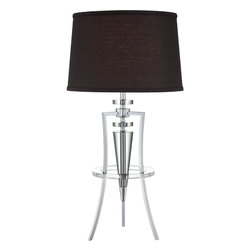 Lite Source - Table Lamp - Chrome/Black Fabric Shade - Table Lamp - Chrome/Black Fabric Shade