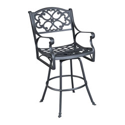 Home Styles - Home Styles Biscayne Swivel Stool in Black Finish - Home Styles - Outdoor Bar Stools Patio Barstools - 555489 - Create an intimate conversation area with Home Styles outdoor Bar Table and Stools. Constructed of cast aluminum in a UV resistant, powder coated hand applied Black-Antique finish, the Bar Stool features a seat designed specifically to prevent damage caused from pooling by allowing water to pass through freely. Adjustable nylon glides prevent damage to surfaces caused by movement and provide stability on uneven surfaces.