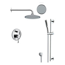 Remer - Round Sleek Rain Shower Faucet Set - Single function shower faucet. Polished chrome finish. Water flow rate: showerhead 2.6, handheld 2.5. Two-way concealed diverter. Spray Pattern: Wide, rain. Round shaped shower head. Crafted out of brass and stainless steel. Handle style: lever and knob. Two levers. Made in Italy by Remer. Note: Diverter includes trim and rough in valve. Pressure balance cartridge.