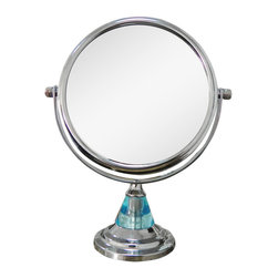 None - Free Standing Blue 5X Magnifying Makeup Mirror - The free standing mirror is perfect to use during makeup application and while plucking eyebrows. It features a metal construction in a chrome finish,cone shaped stand,a blue acrylic accent,and 5X magnification to help you see more detail.