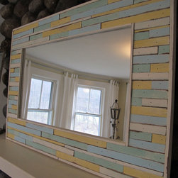 Custom cottage mirror - A mosaic of reclaimed antique wood inlaid in frame,It has the warmth of an old cottage,great collection of spring colors. size is 24 3/4 h x 35 3/4 w. custom sizes are available,Please ask for SHIPPING FEES,for custom sizes. contact us @ www.redgarage.net