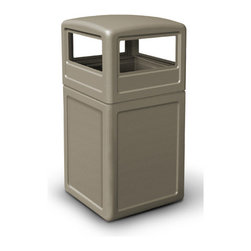 "Commercial Zone - 38 Gallon Square Waste Container with Dome Lid - Attractive and versatile. Covered dome lid has easy access on all four sides. Features: -Large 38-gallon capacity and grab bag system to secure trash bag in place. -Container molded from durable polyethylene. -Uses 39-gallon trash bags. -Ships in two cartons. -Includes 1 year warranty. -Overall Dimensions: 38"" H x 18.50"" W x 18.50"" D."