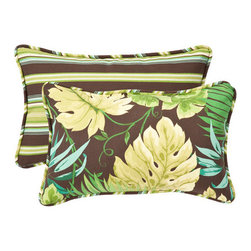 Pillow Perfect - Decorative Green/Brown Tropical/Striped Toss Pillow Rectangle Reversible  Set of - - Green/Brown  - 100% Polyester  - 100% Virgin Recycled Polyester Fill  - Self-Cord Edge  - Fade Resistant Mildew Resistant UV Protection Water Resistant Weather Resistant  - Made in USA Pillow Perfect - 353418