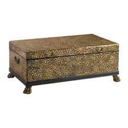 Henry Link - Lexington Henry Link Panthera Trunk Cocktail Table - The Panthera Trunk Cocktail Table by Henry Link Lexington Furniture features a mixture of finishes in leather and brass. This leather-clad trunk cocktail table is custom painted with a leopard pattern while the porters handles on each end and the paw feet are solid brass and crafted using the age-old lost wax casting process. The ventilated interior features a sliding storage tray and a contrasting black finish. This unique table is guaranteed to make a stunning addition to your homes decor.