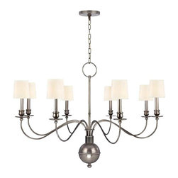 Hudson Valley Lighting - Hudson Valley Cohasset I-8 Light Chandelier in Aged Silver - Hudson Valley Lighting's Cohasset's I-8 Light Chandelier shown in Aged Silver with a white shade. Slender arms, sveltely curved, simplify this colonial classic. Cohasset's sensual form is welcome flair for an otherwise understated interior. As Old World refinement adapted to the new frontier, Cohasset transposes a treasured look to today's less rigidly traditional interiors.