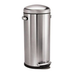 Simplehuman Retro Round Step Fingerprint-Proof Brushed Stainless Steel Trash Can - This fingerprint-proof stainless trash can has a hint of that '50s retro feel.