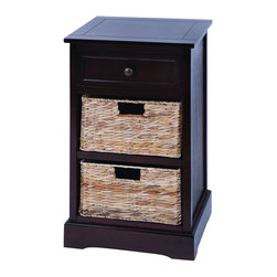 Benzara - Modern Cabinet With 2 Wicker Baskets - This cabinet is made with solid dark wood pieces treated for a soft to the touch feel. Included are 2 levels of baskets that slide in and out like attractive wicker drawers. And with such a beautiful look, you can enjoy this cabinet virtually anywhere and everywhere. Use it perfectly in the master bedroom or the spare guest room.