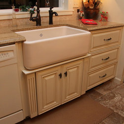 """Kitchen designed to compliment """"Turn of the Century"""" farm home -"""