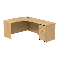 """BBF - BBF Series C 60W x 43D RH L-Desk with 3Dwr Mobile Pedestal - BBF - Computer Desks - SRC007LORSU - Clean and classic the BBF Series C L-Desk creates a professional workspace anywhere. The ample space of the 60""""W x 43""""D L-Bow Desk Shell and 36""""W Return Bridge provide individual work space while the bow front offers seating space for visitors or collaboration work. Comprised of a thermally fused laminate the oversize work surface boasts a durable finish that resists scratches and stains to maintain its good looks. An integrated wire management system provides desktop grommets to assist in keeping the work surface clean and looking professional. A 3-Drawer Mobile Pedestal unit rounds out this office featuring two box drawers to keep office supplies close and a single file drawer which accommodates letter legal and A4 size files and a front face locking system to secure the file drawer and lower box drawer. Operating on full-extension ball bearing slides each drawer provides full content access and the convenient mobile unit fits neatly under the desktop to minimize the office footprint. With a finish to match any decor additional BBF Series C pieces allow for additional configurations as your needs evolve and grow. Solid construction meets ANSI/BIFMA test standards in place at time of manufacture; this product is American Made and is backed by BBF 10-Year Warranty."""