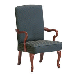 Comfort Pointe - Derby High Back Accent Chair (Red) - Choose Upholstery: RedMade from solid wood. Traditional style. Simple and comfortable design. Gooseneck arms and thick back legs for strength and durability. Jacquard diamond fabric upholstery. Arms and legs in cherry finish. Warranty: One year limited. Assembly required. Seat height: 18.5 in.. Overall: 28.5 in. W x 26 in. D x 42 in. H (23.15 lbs.)This chair is sure to be a staple in your home for years to come. High Back is great for home office or waiting room.