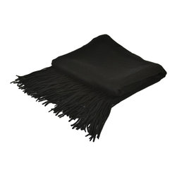 "Pur by Pur Cashmere - Signature Blend Throw Black 50""x65"" With 6"" Fringe - Signature cashmere blend throw 10% cashmere / 80% wool / 10% microfine Dry clean only. Inner mongolia."