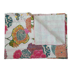 Filling Spaces - Kantha Throw - There's nothing quite like the homemade throw to add instant comfort to your home. These one-of-a-kind throws feature vibrantly colored fabric with bold designs, and are hand stitched using a traditional kantha stitch. Add one to your bed for a pop of color and warmth.