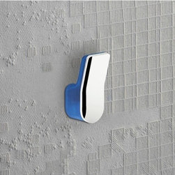 Gedy - Transparent Light Blue and Chrome Wall Mounted Towel or Robe Hook - A contemporary robe hook that is made in cromall and thermoplastic resins and finished in light blue. Part of the Bijou collection by Gedy, this decorative towel/robe hook works well in more contemporary bathrooms. Made in Italy by Gedy. Gedy towel/robe hook. From the Bijou collection. Decorative & designer, made in cromall and thermoplastic resins and finished in light blue. Made in Italy.