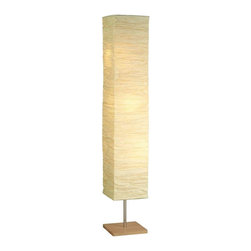 Adesso - Adesso Dune Floor (Natural) with Crinkle Paper Shades - Natural wood bases with satin steel accents. Collapsible natural crinkle paper shades. Foot step switch. 3 x 60 Watt incandescent or 13 Watt CFL bulbs. 58 in Height, 10 in Square base. Shade: 46 in Height, 11 in Square.