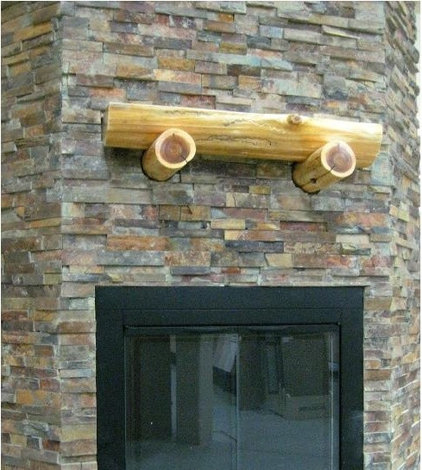 Traditional stone tile fireplace