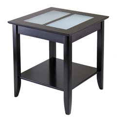 Winsomewood - Syrah End Table with Frosted Glass - Are you tired of using TV trays as end tables? If you're just starting out or even downsizing, you still want your living space to be beautiful and useful. Here's the answer. It's large enough to hold a lamp, a beverage and a book, plus there's an extra storage shelf. Bye, bye TV tray.