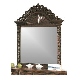 Yuan Tai - Bailey Beveled Mirror in Red Cherry Finish - 2 in. frame thickness. Intricate resin carvings. Warranty: Six months limited. Made from solid hardwoods and wood veneers. 56 in. W x 52 in. H (57.2 lbs.)