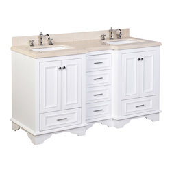 Kitchen Bath Collection - Nantucket 60-in Bath Vanity (Crema Marfil/White) - This bathroom vanity set by Kitchen Bath Collection includes a white cabinet with soft close drawers, Crema Marfil marble countertop, double undermount ceramic sinks, pop-up drains, and P-traps. Order now and we will include the pictured three-hole faucets and a matching backsplash as a free gift! All vanities come fully assembled by the manufacturer, with countertop & sink pre-installed.