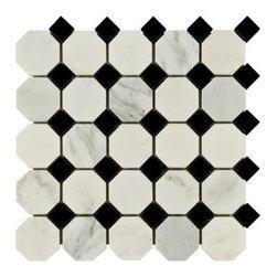 Carrara White and Black Octagon Marble Mosaic -