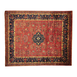 """Oriental Rug Galaxy - 8'4"""" x 10'1"""" New Zealand Wool Red Sarouk 300 kpsi Handmade Oriental Rug - Our fine Oriental hand knotted rug collection consists of 100% genuine, hand-knotted and hand-woven rugs from Persia, China, and other areas throughout Asia. Classic, traditional, and offered in a wide range of elaborate designs, every handmade rug is guaranteed to serve as a beautiful and striking element in any interior setting."""