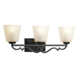 Progress Lighting - Meeting Street Forged Black Three-Light Bath Fixture with Etched Ivory Pleated G - - Three-light bath  - Three Light Bath  - Glass: Etched ivory pleated  - Height From Center Box: 6.31-Inch  - Branding: Thomasville Lighting  - Finish/Color: Forged Black  - Product Width: 25.75  - Product Height: 8.75  - Product Height: 8.75  - Product Weight: 10  - Product Dept: 25.75  - Product Extension: 6.87  - Material: Metal and Glass  - Bulb NOT included Progress Lighting - 942024-80
