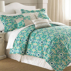 None - Natasha Green Floral Medallion 8-piece Comforter Set - Bring artistic appeal to your bedroom with this contemporary comforter set,emblazoned with a chic green floral medallion motif. Crafted with soft microfiber,this comforter is complete with matching shams,a trellis skirt and decorative pillows.
