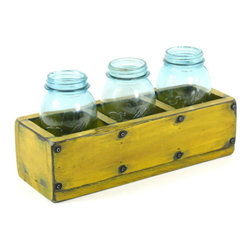 Wooden 3-Compartment Herb Planter Window Box by Bridgewood Place - This rustic Etsy find can be crafted to your individual specs if the size and shape pictured aren't quite right. I love how the glass Mason jars complement the roughly worn wood, and I'd imagine it would make a lovely impromptu centerpiece too.