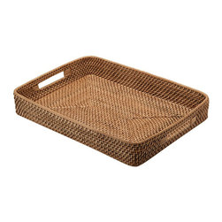 KOUBOO - Rattan Serving Tray with Cut-Out Handles, Honey Brown - This honey-brown serving tray is reminiscent of the piece of driftwood you found on the shore during your last trip to the coast. Hand woven from rattan, this serving tray will serve as a pretty backdrop for your favorite food fare.
