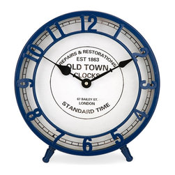 Essentials Desk Clock, Marine Blue - *From the Essentials by Connie Post collection, the mellow yellow desk clock features an old town face design with a subtle retro style.