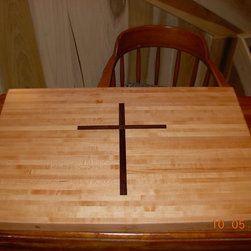 """Butcher Block with Inlaid cross, Visible both sides - 24"""" x 36"""" x 2"""" maple butcher block with black walnut cross, reversible and cross is seen on both sides.   (See more photos on Facebook; Jim Lefever Cabinets)"""