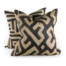 Pfeifer Studio - Black Kuba Cloth Pillow - Pillows are a go-to option for adding a trend you'd like to try in your home. They're priced well for experimenting, and what's easier than plopping a new pillow on the sofa? Try using two of these to infuse on-trend kuba cloth into your living room.