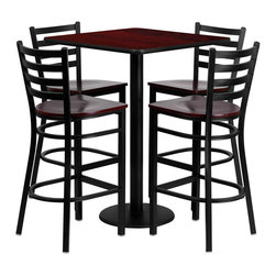 "Flash Furniture - 30"" Square Mahogany Table Set with 4 Ladder Bar Stools - Mahogany Wood Seat - 30 in.  Square Mahogany Laminate Table Set with 4 Ladder Back Metal Bar Stools - Mahogany Wood Seat"